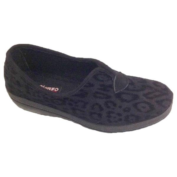 Blenzo 9435 Pantoffel Donkere Luipaardprint- Zwart